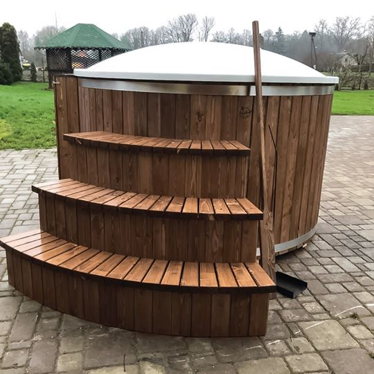 Large tub height with Hydromassage, LED lights& Big stairs